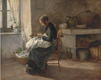 Woman sewing in an interior