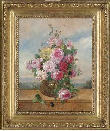 Roses in a glass vase, a lands