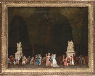 Elegant figures in a park