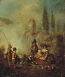 Figures resting in a landscape
