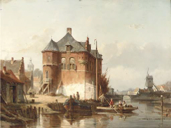 A view of a town with figures