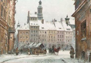 A Warsaw Square in Winter