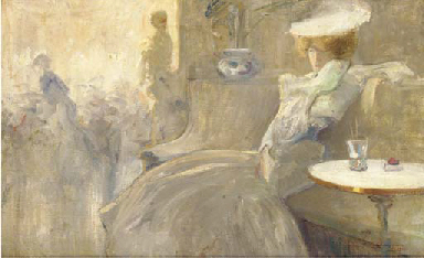An elegant lady in a café