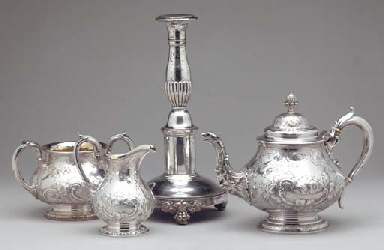 A GROUP OF SILVER-PLATED OBJEC