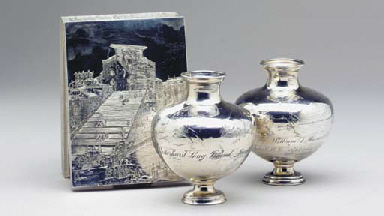 A PAIR OF AMERICAN SILVER VASE