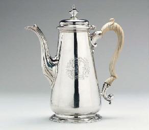 A GEORGE II SILVER COFFEE POT*