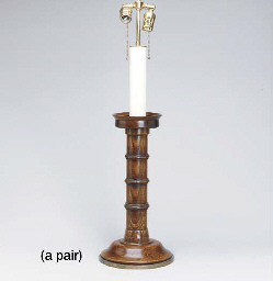 A PAIR OF OAK CANDLESTANDS MOU