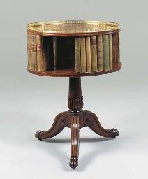 A MAHOGANY DRUM BOOKSTAND