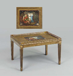 A REGENCY POLYCHROME PAINTED T