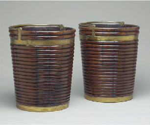 A PAIR OF REGENCY BRASS-BOUND