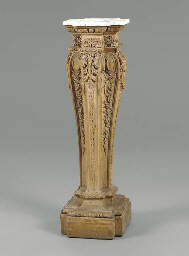 A GEORGE II CARVED PINE PEDEST