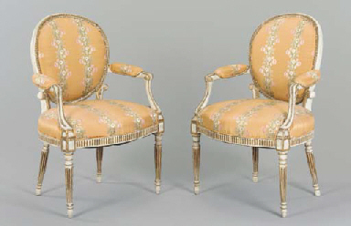 A PAIR OF GEORGE III WHITE-PAI