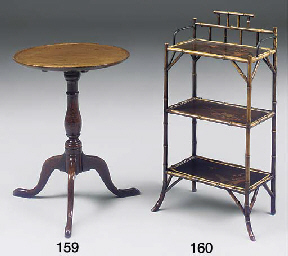 A lacquer and bamboo etagere