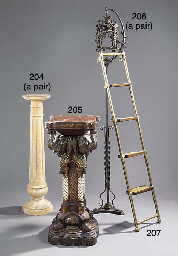 A pair of yellow marble column