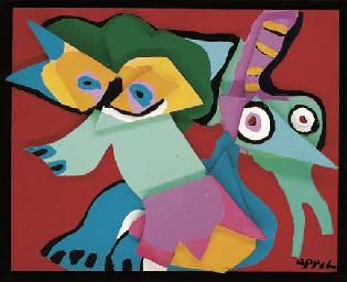 Jumping fox with green virgin