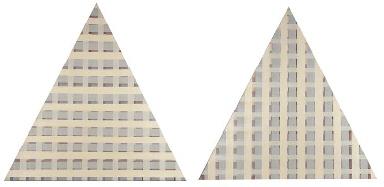 Triangular diptych: cream