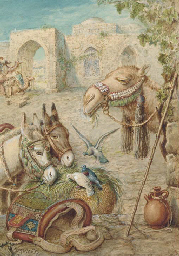 Donkeys and a camel resting at