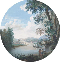 Figures on the riverbank, a co