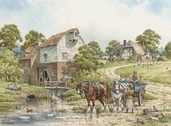 A horse-drawn wagon crossing a