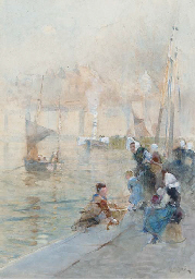 Fisherwomen with their childre