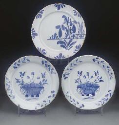 Three English delft blue and w
