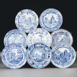 Fifteen English pottery blue a