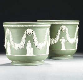A pair of Wedgwood green jaspe