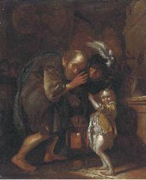 An old man holding a lantern,