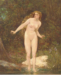 A nude bathing in woodland