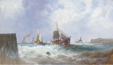 Fishing vessels in a squall; a