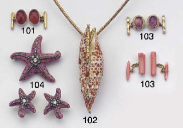 (2) A SHELL AND DIAMOND NECKLA