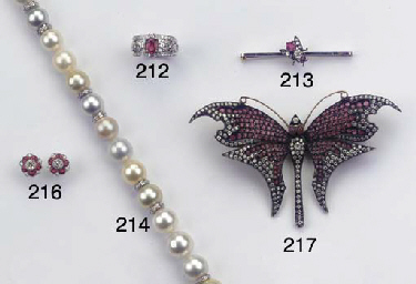 A DIAMOND AND RUBY BUTTERFLY B