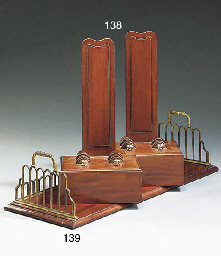 A PAIR OF MAHOGANY PLATE STAND