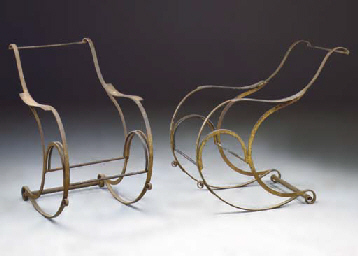 A PAIR OF FRENCH WROUGHT AND C