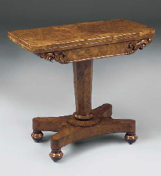 A BURR OAK CARD TABLE