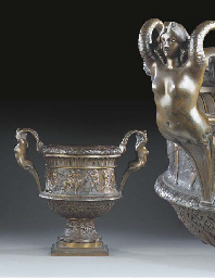 TWO SIMILAR FRENCH BRONZE URNS