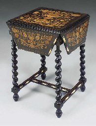 A DUTCH EBONISED AND MARQUETRY