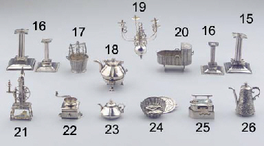 A Dutch silver miniature six-l