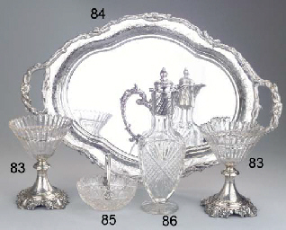 A Dutch silver two-handled tra