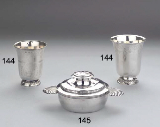 A French silver ecuelle and co