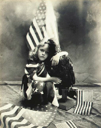 Girl with flags, circa 1900
