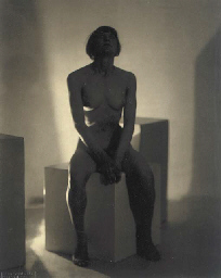 Untitled (Nude seated on cube)