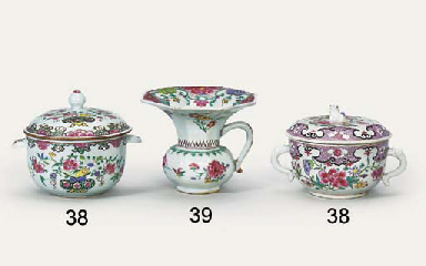 TWO FAMILLE ROSE TWO-HANDLED B