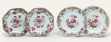 TWO PAIRS OF FAMILLE ROSE PLAT