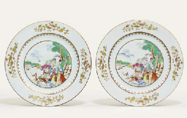 A PAIR OF FAMILLE ROSE EUROPEA