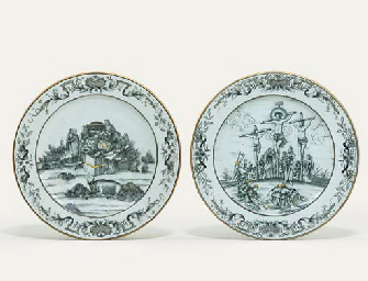 TWO GRISAILLE AND GILT RELIGIO