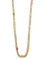 A MULTI-GEM LONGCHAIN NECKLACE