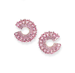 A PAIR OF PINK SAPPHIRE EAR CL