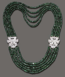 A FIVE-STRAND EMERALD AND DIAM