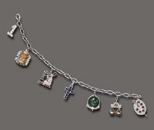 AN ART DECO MULTI-GEM CHARM BR